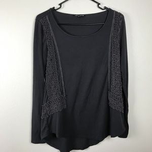 3/$20 Cable & Gauge Lace Trim High Low Long Sleeve